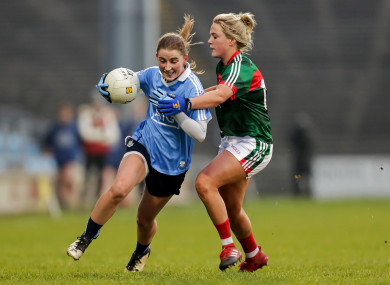 Aoife Kane and Fiona Doherty during today's clash in Castlebar.
