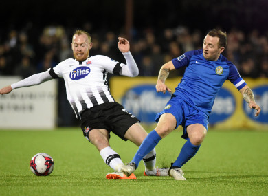 Dundalk's Chris Shields and Gary McCabe of Bray.