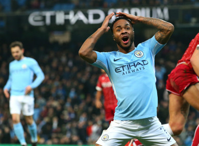 Raheem Sterling reacts to a missed Manchester City chance.