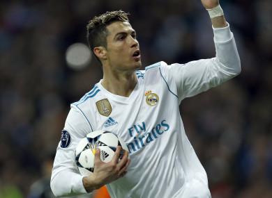 Ronaldo celebrates his goal in tonight's last 16 tie.