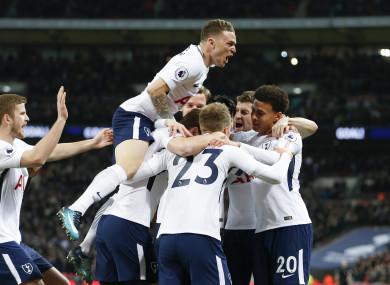 Tottenham's players celebrate a goal.