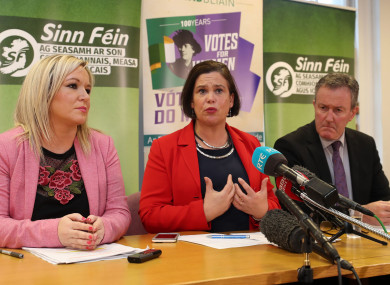 Sinn Fein's vice president Michelle O'Neill (left) and Sinn Fein's president Mary Lou McDonald (centre) and Conor Murphy at a press conference yesterday.