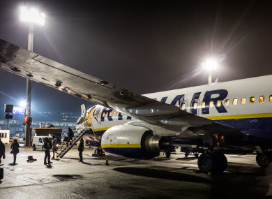 A Ryanair plane at Frankfurt Airport.