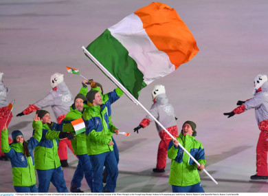 The Irish team pictured at the 2018 Winter Olympics ceremony.