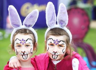 Sisters Ciara and Emily Burns at the 2017 Cadbury Easter Egg Hunt in aid of Barnardos.