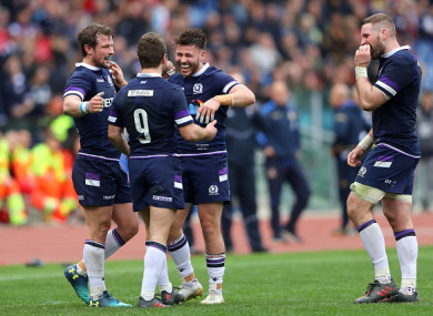 Scotland celebrate their win in Rome.