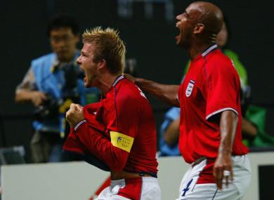 David Beckham celebrating scoring for England against Argentina at the 2002 World Cup