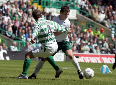 Liam Miller and Jackie McNamara the last time Ireland and Celtic played in 2005.