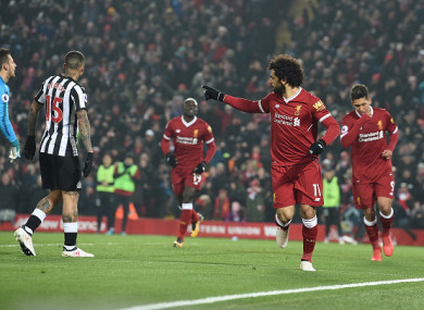 Mohamed Salah celebrates giving Liverpool the lead on Saturday.