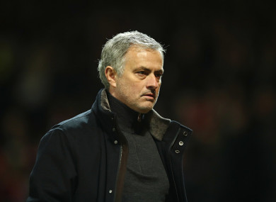 Jose Mourinho, Manager of Manchester United looks dejected in defeat.