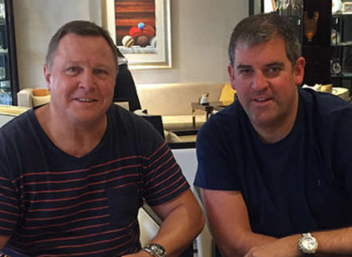 Mulvihill (left) with Cardiff Blues chief executive Richard Holland.