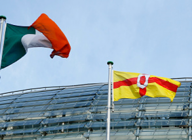 The Irish and Ulster flags being flown outside the Aviva Stadium.