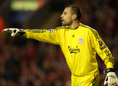 Cavalieri appearing for the Reds in the 2009 Champions League.