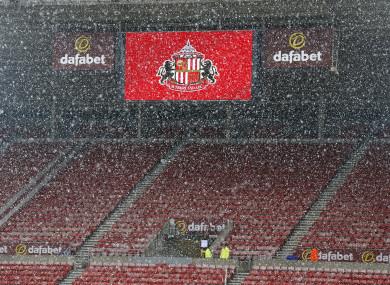 Snow falls at the Stadium of Light (file photo).