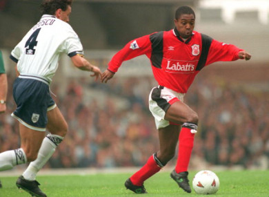 Nottingham Forest's Bryan Roy pictured during a 1994 game with Tottenham.