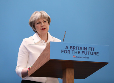 Theresa May speaks at the Conservative Party's annual Spring Forum in London.