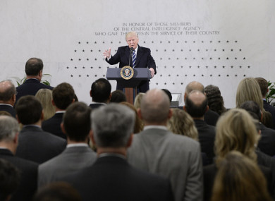 US President Donald Trump speaks at the CIA headquarters in Langley, Virginia.