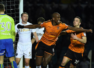 Willy Boly celebrates a goal for Wolves