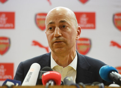 Gazidis speaking to the media.