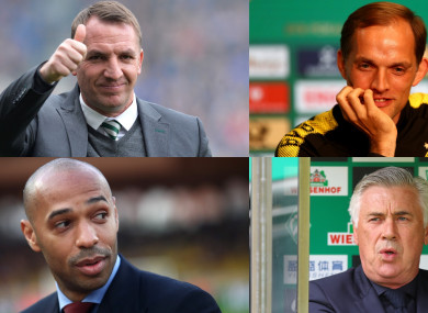 Four candidates for the Arsenal job. From the top left: Brendan Rodgers, Thomas Tuchel, Thierry Henry and Carlo Ancelotti.