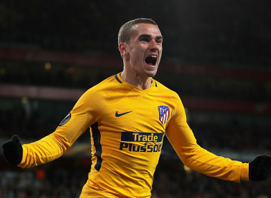 Griezmann celebrates his late goal.