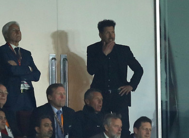 Simeone watched most of the match from the stands after being sent off.