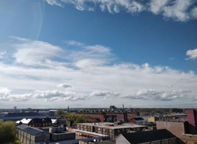 A blue sky over Dublin yesterday