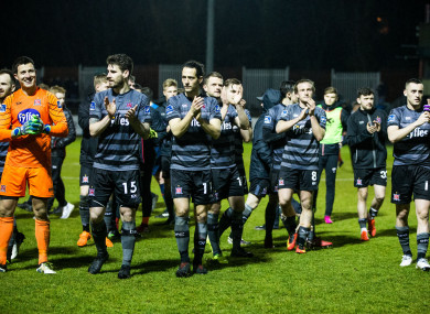 Dundalk players celebrate after the game.