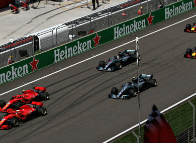 Action from the Chinese Grand Prix