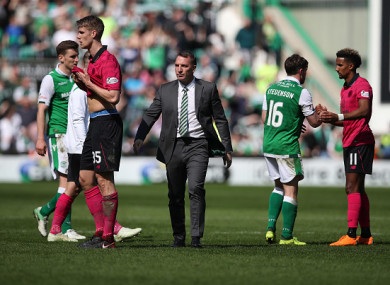 Celtic manager Brendan Rodgers after the final whistle on Saturday.