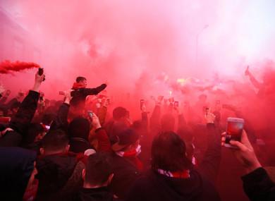 Liverpool fans ahead of last week's first leg.