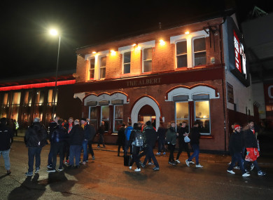 A view of the Albert pub outside Anfield