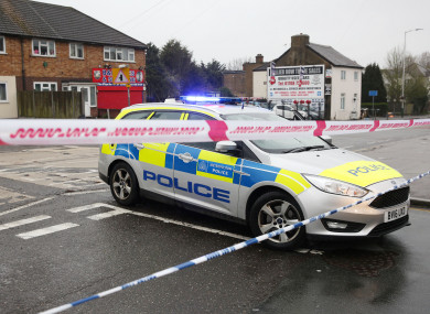 A police car at the junction of Collier Row Road and Ramsden Drive in Romford.