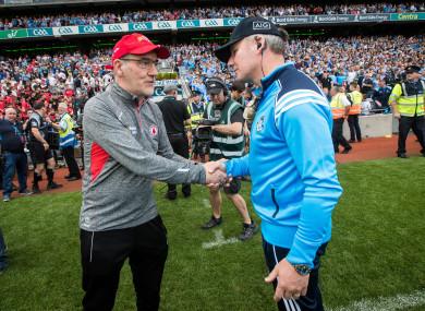 Tyrone manager Mickey Harte with Dublin boss Jim Gavin after last year's All-Ireland senior football semi-final.