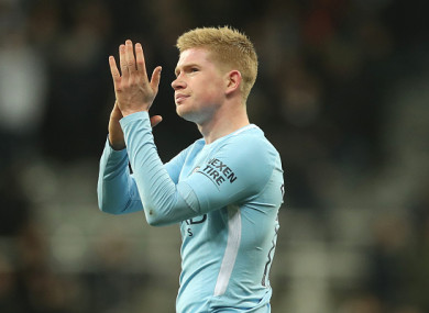 De Bruyne has been one of the league's best players this season.