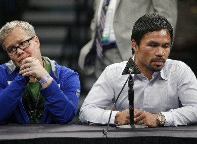 Trainer Freddie Roach, left, pictured with Manny Pacquiao in 2015.