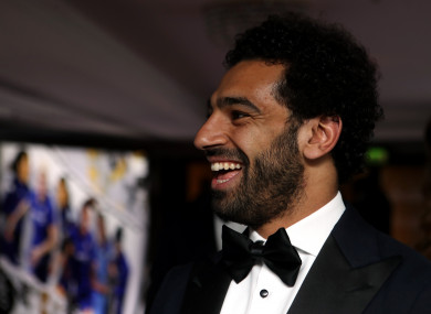 Mo Salah pictured at tonight's awards.