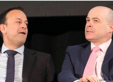 (Top) Taoiseach Leo Varadkar and Communications Minister Denis Naughten; (bottom left) Denis O'Brien; (bottom right) Person reading Independent newspaper