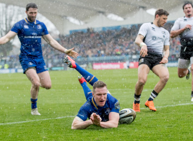 Rory O'Loughlin goes over for Leinster's second try.