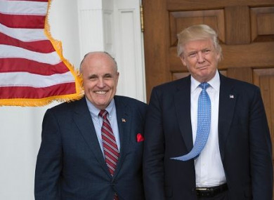 Then President-elect Donald Trump with former New York City Mayor Rudy Giuliani at Trump National Golf Club on 20 November 2016 in Bedminster, New Jersey.
