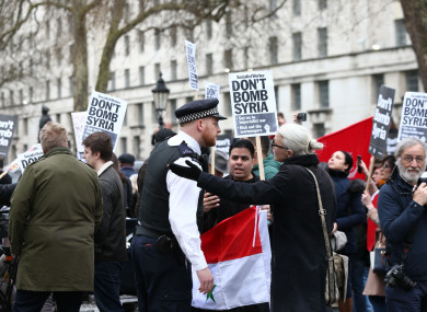 A protest by Stop the War Coalition in Whitehall, outside 10 Downing Street in London yesterday.