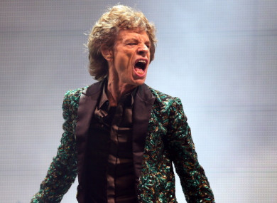 Mick Jagger performing on the Pyramid Stage at Glastonbury Festival 2013