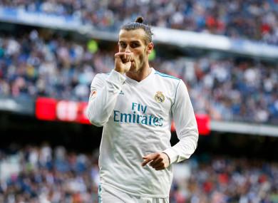 Gareth Bale celebrates scoring the opening goal for Madrid on Saturday night.
