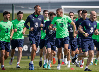 Ireland players train ahead of the France match.