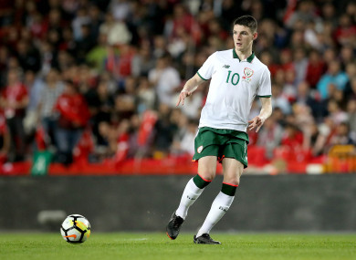 Rice making his senior debut for Ireland back in March.