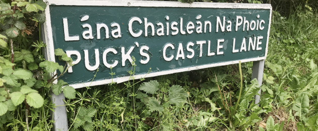 A sign for Puck's Lane Castle in Rathmichael, Co Dublin, where a body was earlier discovered in the search for missing woman Jastine Valdez
