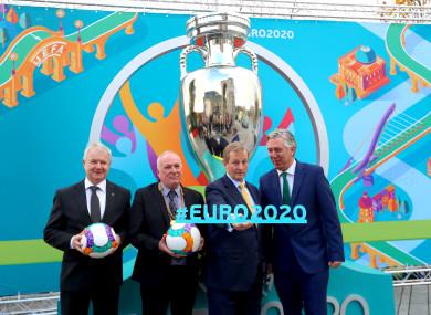 Uefa's Frantisek Laurinec, Cllr Dermot Lacey, former Taoiseach Enda Kenny and FAI Chief Executive John Delaney in November 2016.