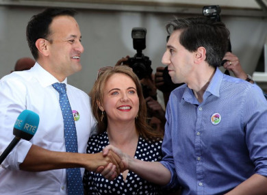 Taoiseach Leo Varadkar, Senator Catherine Noone (who chaired the Oireachtas Eighth Amendment Committee) and Health Minister Harris at Dublin Castle yesterday.