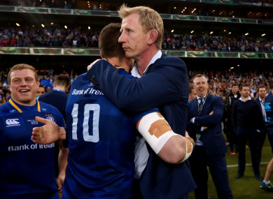 Cullen celebrates with Johnny Sexton at the Aviva Stadium.