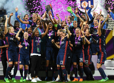 Lyon Women celebrate winning the Champions League